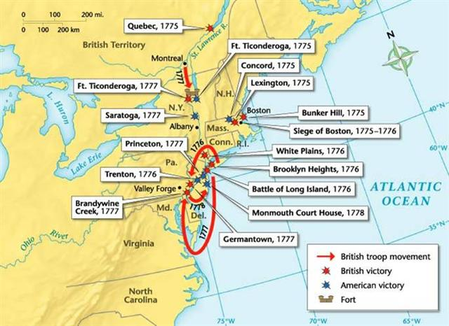 Gallery For Gt 13 Colonies Map With Cities And Battles