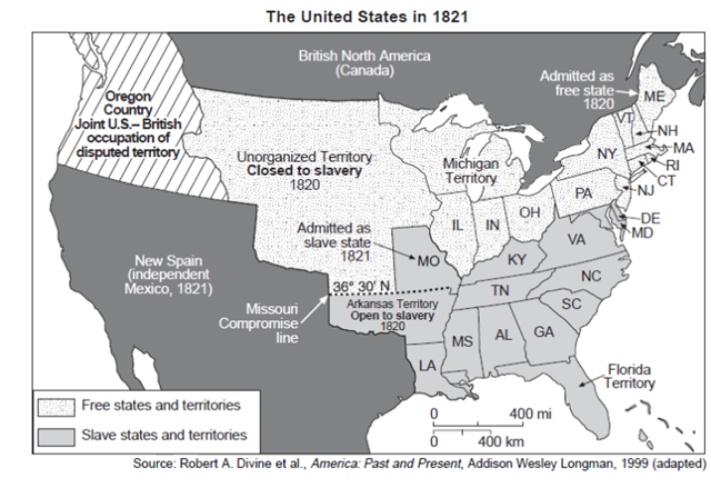 Sectionalism Slavery - Map of us in 1821