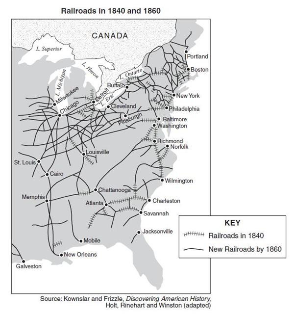 US Grows Thru - Map us railroads 1860