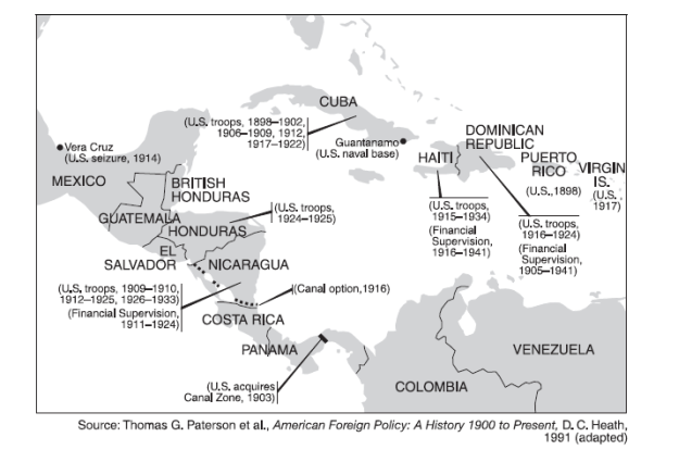 Imperialism - Us latin american intervention maps