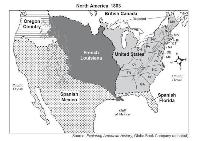 which geographic feature was the boundary line between the united states and french louisiana in 1803 1ja07